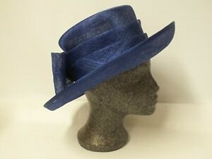 A Tricia Hat in Navy with Large Bow Detail and Selfridges Hat Box (Nee)