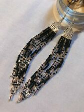 Native American Style Cascading 'Silver & Black Feathers' Beaded Earrings