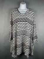 NWT Anthony's Resort Wear ladies Apparel Black & White Stripe Blouse Ladies 1X