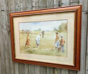 "Large Framed Douglas E. West "" The Long Chip "" Golf / Golfing Print"