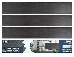 Floor Planks Tiles Self Adhesive Black Wood Vinyl Flooring Kitchen Bathroom