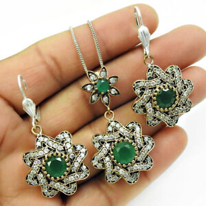 Natural Emerald CZ Earring Pendant Set 925 Sterling Silver Jewelry RS27