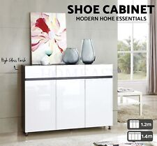 Modern High Gloss Shoe Cabinet Rack Storage Shelf Organiser Black White 1.2 1.4M
