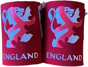 2x Stubby Beer Can Sleeve Holder, Bottle Cooler, UK Flag England Euro Football