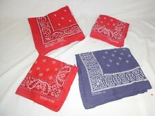 Lot of 4 Vtg Cotton Bandanas Bandannas Paris Access & Wamcraft Red Blue Usa