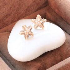 Starfish Ear Stud Earrings Handmade Pearl Beach Unisex Ear Rhinestone Earrings