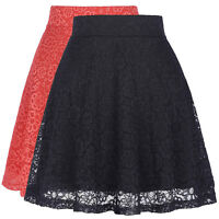 Women High Waist Lace Floral Skater Flared Ladies Short Mini Skirt A Line Dress