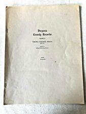 Vintage Booklet VIRGINIA COUNTY RECORDS Vol II book Colonial Militia 1651-1776