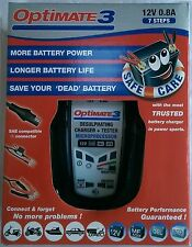 OPTIMATE 3 MOTORCYCLE 12V BATTERY CHARGER OPTIMISER AND CONDITIONER