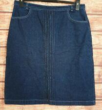 MULBERRY Skirt DENIM Straight MINI Pockets Zip/Button DESIGNER Cotton Size UK-14