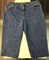 KIM Rogers Women's Size 14 Capri  Blue Jeans 80% Cotton 19% Polyester 1% Spandex