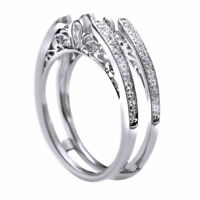 Vintage Cathedral Ring Guard Solitaire Diamond Enhancer 14k White Gold Over 925
