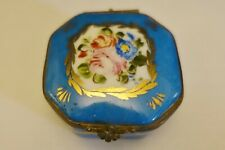 Hse15 Antique Limoges Porcelain Patch Box, Sevres Blue trinket snuff box, flower