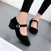 Womens Ladies Mid Block Heel Mary Jane Office Work Formal Strap Dolly Shoes