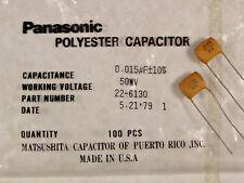 4 Matsushita .015uf 50V Polyester (Mylar) Film Capacitors NOS Guitar Tone