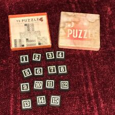 """Vintage """"15"""" Puzzle Number Board Game with Box and Guide, Complete"""