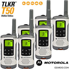 6 x Motorola Talker TLKR T50 2 Way Walkie Talkie PMR 446 Radio Sextet Pack White