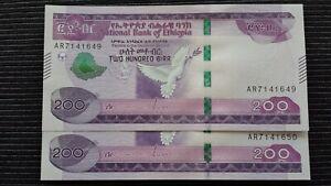 ETHIOPIA 200 Birr 2020 P New x 2 Consecutive UNC Banknotes