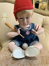"""Gustave Wolff Signed Numbered 10"""" Porcelain Baby Boy Baseball Doll"""