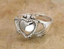 UNIQUE STERLING SILVER CLADDAGH POISON RING size 6  style# r0788