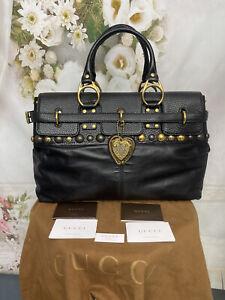 Gucci Babouska Black Leather Top Handle Bag Authentic Mint Condition Rare $2750