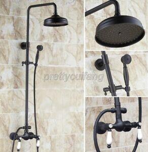 Oil Rubbed Bronze Shower Faucet 8-inch Rainfall Showerhead Dual Handle Mixer Tap