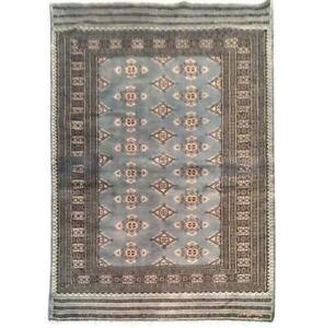 4x6 Hand Knotted Wool & Silk Jaldar Bokhara brown Rug B-75658