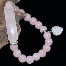 8mm Natural Rose Quartz Bracelet w/Curved Columnar Bead and Heart Pendant 7.8""