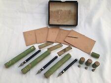 Lot 21 pcs. Vintage Wrico Drafting Lettering Pen Pens & Tips Brass Tabs