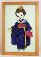 "Vintage Reverse Foil Painting on Glass Japanese Woman Geisha 19"" x 13.5"" Framed"