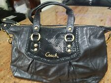 COACH 19247 Black Ashley Python Detail Leather Small Shoulder Bag Tote Satchel