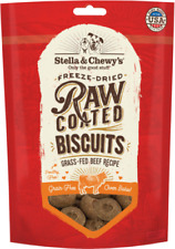 Stella & Chewy's RAW COATED GRASS FED DOG BISCUITS Dog Treats 9 oz BEEF USA Made