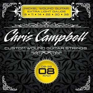 3 SETS CHRIS CAMPBELL CUSTOM ELECTRIC GUITAR STRINGS #4701 EXTRA LIGHT GAUGE