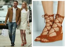 CHLOE LACE-UP SUEDE WEDGE SANDAL $1,075 Tan Brown SPRING RUNWAY Shoes Heels 10