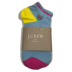 J.Crew Women's Owl Ankle Socks. Sky Blue.Cotton Blend.NWT