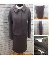 LK Bennett 12 14 Dove Grey Mix Wool Pencil Skirt Suit Work Office