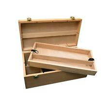 Wooden Storage Box for Art & Craft Supplies with Pull Out Tray