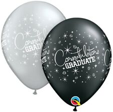 20 Graduation Congratulations Black Silver Helium/Air Balloons Party Decorations