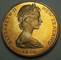 1980 NEW ZEALAND 20 CENTS PROOF BU UNC BEAUTIFUL COLOR TONED COIN #4
