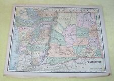 Old Map Idaho & Washington State Color 14 1/2 x 11 inches Nice Clean Shape