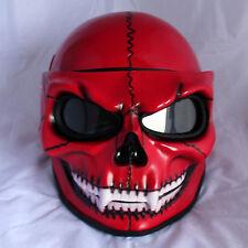 Motorcycle Helmet Skull Red Skeleton Visor Flip Up Open Face S-XXL