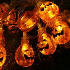 Pumpkin String Lights 20 LED Halloween Decoration Lights Battery Box Fairy Light