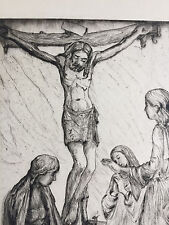 """Pencil-signed Mortimer Borne dry point drypoint/etching """"Women at the Cross"""""""