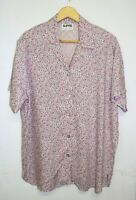 Supre Vintage Blouse One Size Pink Floral Print Button Down Padded Shoulder