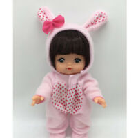 "Pink Jumpsuit Hat Clothes for Mellchan 9-11"" Reborn Baby Girl Doll Accessory"