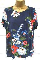 Joules Ladies Blue Floral Top Shirt T Shirt Blouse Short Sleeve - UK 12