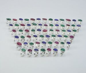 WHOLESALE 63PC 925 SILVER PLATED FACETED GREEN EMERALD MIX STONE RING LOT 1 a951