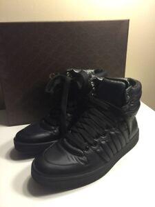 NIB Gucci Black Leather Hi Top Sneaker 7.5G EU 41.5 brand new
