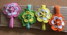 4 Haarband mit handgemacht Häkeln, NEU, Häkelblumen, Handarbeit, Perle