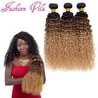 Ombre Remy Brazilian Hair 3/4 Bundles Deep Curly Wave Black to Auburn to Blonde